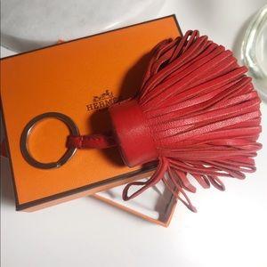 Auth Hermes Rose Jaipur Lambskin Tassel Keychain